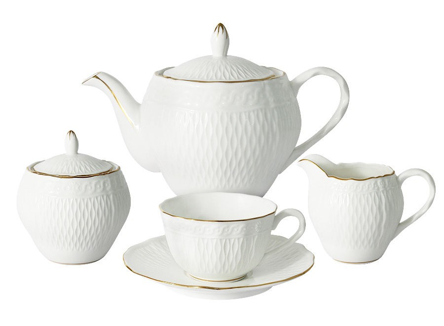 Чайный сервиз из 15 предметов на 6 персон БьянкаЧайные сервизы<br>В комплект входят: 6 чашек 0,17л, 6 блюдец, чайник 0.85л, сахарница 0,3л, молочник 0,2л.<br><br>Material: Фарфор