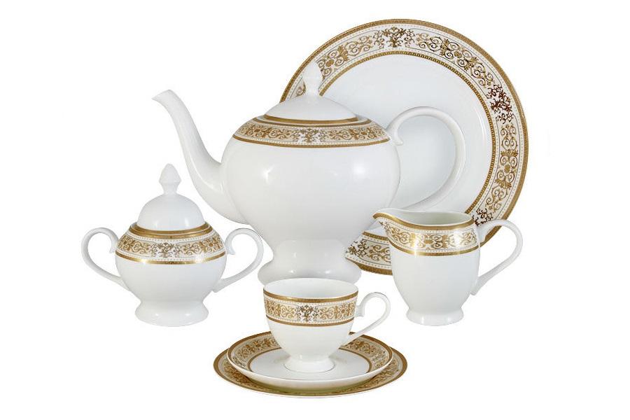 Чайный сервиз 40 предметов на 12 персон ШарлоттаЧайные сервизы<br>&amp;lt;div style=&amp;quot;text-align: justify;&amp;quot;&amp;gt;В комплект входят: 12 десертных тарелок 18 см; 12 чашек 0,2л; 12 блюдец, сливочник 0,3л; чайник1,5л; сахарница 0,35л; блюдо для торта 31см.&amp;lt;br&amp;gt;&amp;lt;/div&amp;gt;<br><br>Material: Фарфор
