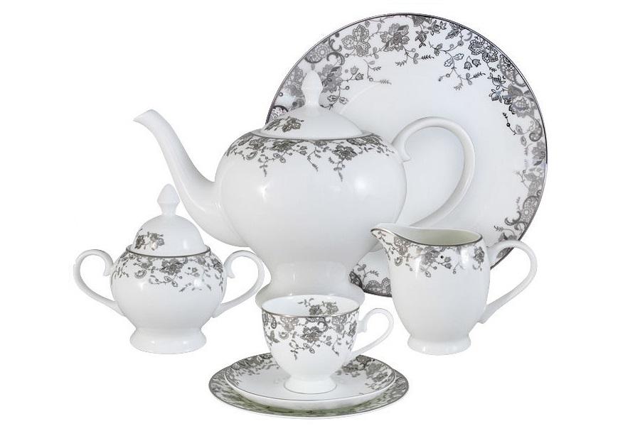 Чайный сервиз 40 предметов на 12 персон ЭстельЧайные сервизы<br>В комплект входят: 12 десертных тарелок 18 см; 12 чашек 0,2л; 12 блюдец, сливочник 0,3л; чайник 1,5л; сахарница 0,35л; блюдо для торта 31см.<br><br>Material: Фарфор