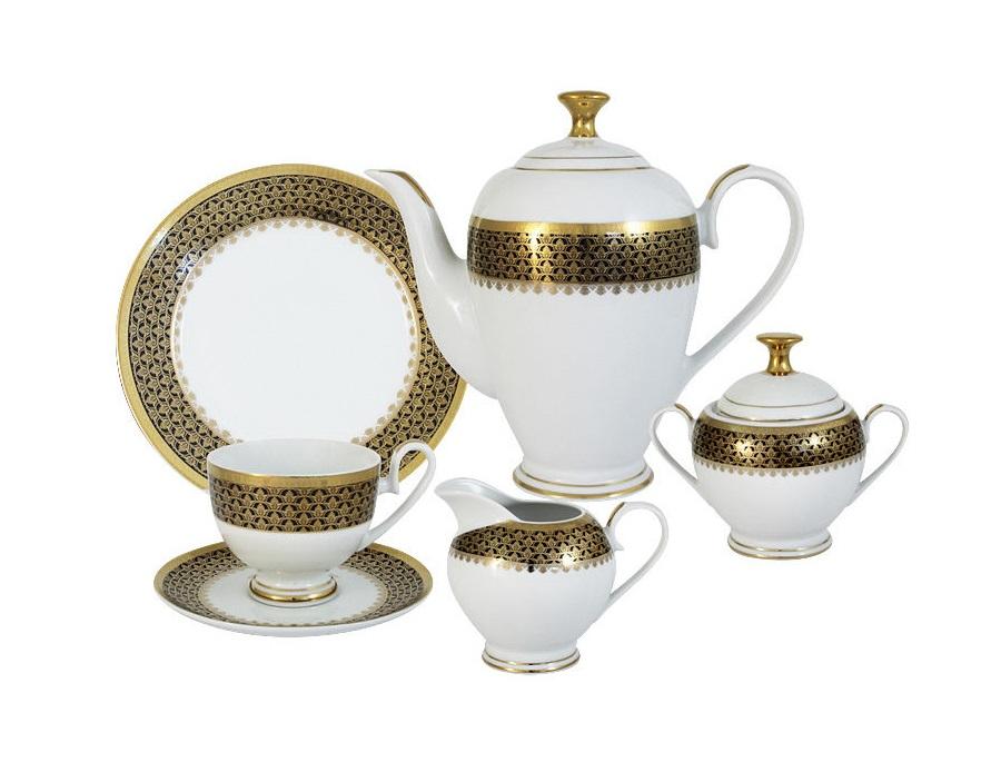 Чайный сервиз 23 предмета на 6 персон Чёрное золотоЧайные сервизы<br>В комплект входят: 6 чашек 0,2л,6 блюдец,6 тарелок 19см, чайник с крышкой 1,5л, сахарница с крышкой 0,35л, сливочник 0,3л.<br><br>Material: Фарфор
