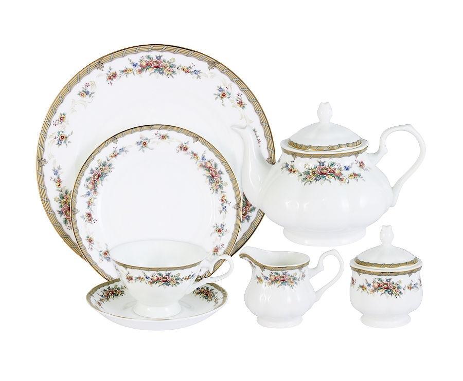 Чайный сервиз 40 предметов на 12 персон ИзабеллаЧайные сервизы<br>В комплект входят: 12 десертных тарелок 18 см; 12 чашек 0,2л; 12 блюдец, сливочник 0,3л; чайник 0.9л; сахарница 0,35л; блюдо для торта 31см.<br><br>Material: Фарфор