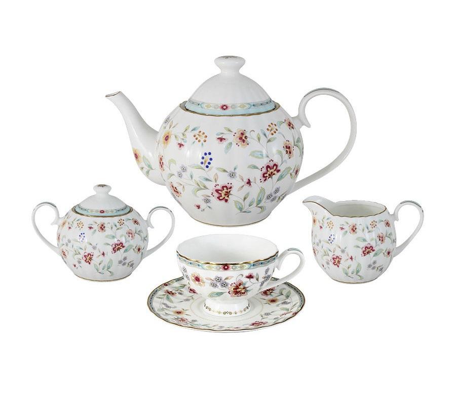 Чайный сервиз из 15 предметов на 6 персон ГрейсЧайные сервизы<br>&amp;lt;div&amp;gt;В комплект входят: 6 чашек 0,21л, 6 блюдец, чайник 1,2л, сахарница 0,4л, молочник 0,36л.&amp;lt;/div&amp;gt;&amp;lt;div&amp;gt;&amp;lt;br&amp;gt;&amp;lt;/div&amp;gt;<br><br>Material: Фарфор