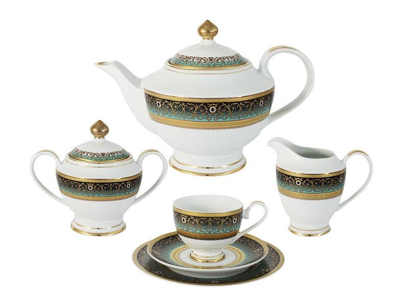 Чайный сервиз 23 предмета на 6 персон ПринцЧайные сервизы<br>В комплект входят: 6 чашек 0,2л,6 блюдец,6 тарелок 19см, чайник с крышкой 1,4л, сахарница с крышкой 0,45л, сливочник 0,3л.<br><br>Material: Фарфор