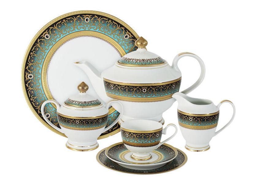 Чайный сервиз 42 предмета на 12 персон ПринцЧайные сервизы<br>В комплект входят: 12 чашек 0,2л,12 блюдец,12 тарелок 19см, сливочник 0,3л, сахарница с крышкой 0,45л, блюдо 30см, чайник с крышкой 1,4л.<br><br>Material: Фарфор
