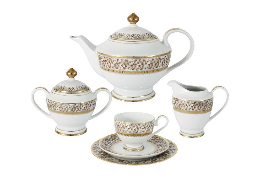 Чайный сервиз 23 предмета на 6 персон РапсодияЧайные сервизы<br>В комплект входят: 6 чашек 0,2л,6 блюдец,6 тарелок 19см, чайник с крышкой 1,4л, сахарница с крышкой 0,45л, сливочник 0,3л.<br><br>Material: Фарфор