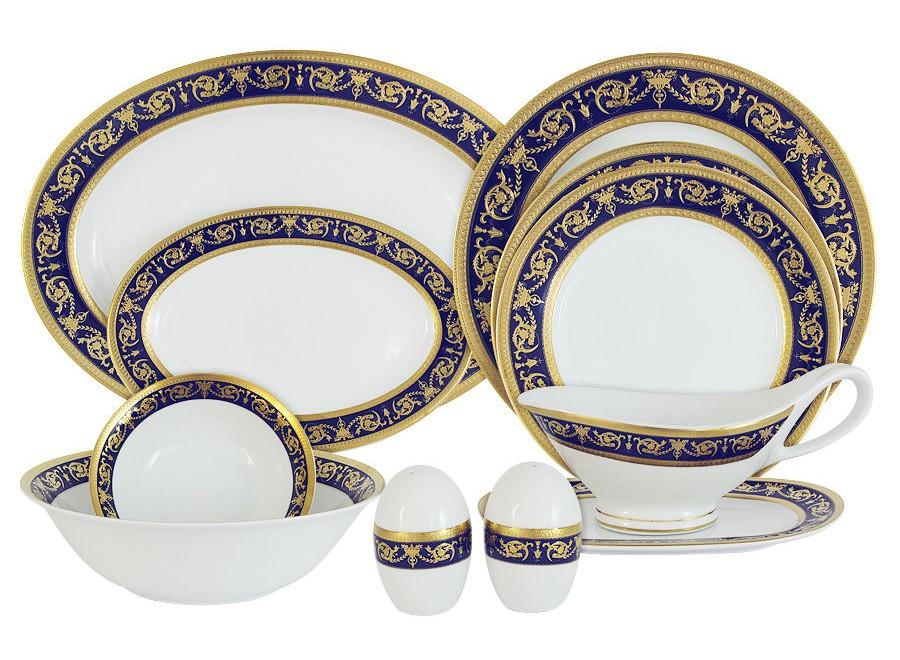 Обеденный сервиз 27 предметов на 6 персон ИмператорскийСтоловые сервизы<br>В комплект входят: 6 закусочных тарелок 20,5см, 6 обеденных тарелок 27см, 6 суповых тарелок 23см, 2 салатника 14см, 1 салатник 23см , 1 блюдо 35см, 2 блюда 23см, соусник на блюдце, солонка, перечница.<br><br>Material: Фарфор