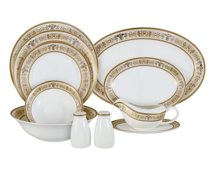 Обеденный сервиз 50 предметов на 12 персон ШарлоттаСтоловые сервизы<br>В комплект входят: 12 обеденных тарелок 25,5см, 12 суповых тарелок 23см, 12 закусочных тарелок 21см, 2 салатника 23см, 4 салатника 16,5см, 2 блюда 36,5см ,2 блюда 23,5 см, соусник+блюдо под него, набор для специй.<br><br>Material: Фарфор