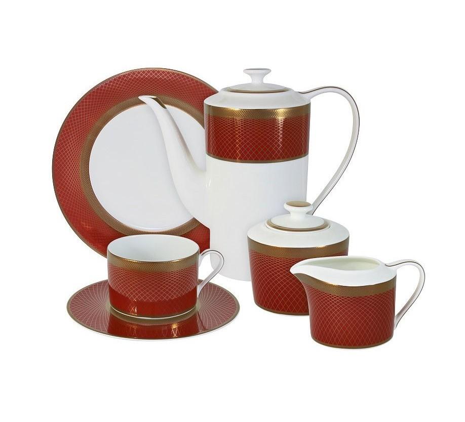 Чайный сервиз 21 предмет на 6 персон КарменЧайные сервизы<br>В комплект входят: 6 чашек 0.25л, 6 блюдец, 6 тарелок 21.5см, чайник 1.4л, сахарница 0.35л, молочник 0.25л.<br><br>Material: Фарфор