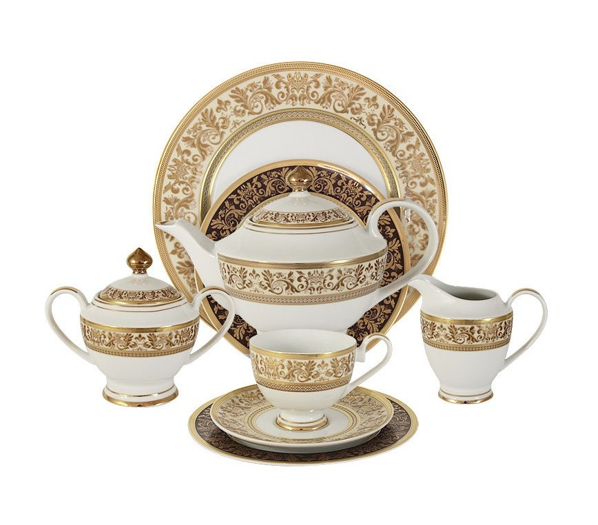 Чайный сервиз 42 предмета на 12 персон ТриумфЧайные сервизы<br>В комплект входят: 12 чашек 0,2л,12 блюдец,12 тарелок 19см, сливочник 0,3л, сахарница с крышкой 0,45л, блюдо 30см, чайник с крышкой 1,4л.<br><br>Material: Фарфор