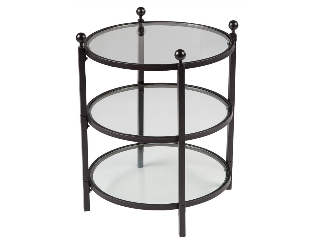 Стол журнальный Glass PlateauЖурнальные столики<br>Три стеклянных столешницы обрамленные в черненный металл могут послужить не только уютным столиком для чашки кофе с темным шоколадом, но и элегантной этажеркой, на которой разместятся авторские предметы декора, любимые кактусы или просто необходимые  каждый день вещицы.<br><br>Material: Стекло<br>Ширина см: 57<br>Высота см: 66<br>Глубина см: 57