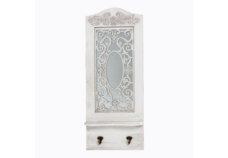 Настенное зеркало «Авиньон» (белый антик)Настенные зеркала<br>&amp;quot;Авиньон&amp;quot; ? оригинальный декор, изюминка которого заключается в ювелирном исполнении романтичного орнамента. Выполненный на зеркальной поверхности, он удваивает свою элегантность, которая будто становится осязаемой благодаря отражению. Благородство патинированной натуральной ели, ее уникальная фактура и утонченная белоснежная палитра, добавляют декору винтажный шарм. А дополнения в виде двух золотистых крючков и аккуратной полочки ? функциональность, которая не будет лишней ни в одном интерьере.&amp;lt;div&amp;gt;&amp;lt;br&amp;gt;&amp;lt;/div&amp;gt;&amp;lt;div&amp;gt;Размер: 28?70?9 см.&amp;lt;/div&amp;gt;&amp;lt;div&amp;gt;Вес: 2 кг.&amp;lt;/div&amp;gt;<br><br>Material: Дерево<br>Width см: 28<br>Depth см: 9<br>Height см: 70