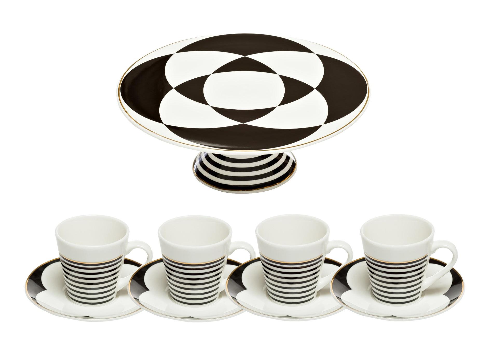 Набор посудыКофейные сервизы<br>&amp;lt;div&amp;gt;Подставка для торта 28 см&amp;lt;/div&amp;gt;&amp;lt;div&amp;gt;Чашка кофейная 80 мл с блюдцем (4шт)&amp;amp;nbsp;&amp;lt;/div&amp;gt;&amp;lt;div&amp;gt;Не допускается использование в СВЧ, разрешается мыть в посудомоечной машине.&amp;lt;/div&amp;gt;<br><br>Material: Фарфор