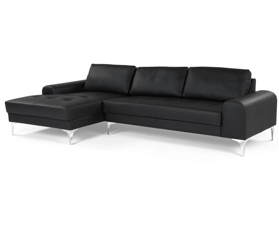 Ml диван угловой vitto black leather черный  43173/43204