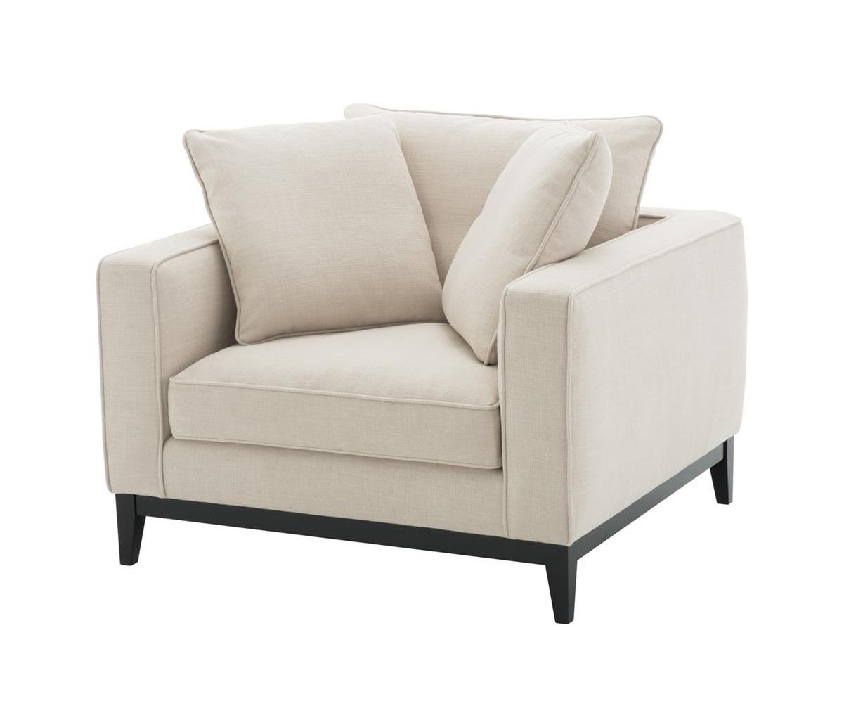 КреслоИнтерьерные кресла<br>Кресло с подлокотниками Chair Principe обтянуто тканью кремового цвета. Ножки деревянные черного цвета.<br><br>Material: Текстиль<br>Ширина см: 116.0<br>Высота см: 94.0<br>Глубина см: 106.0
