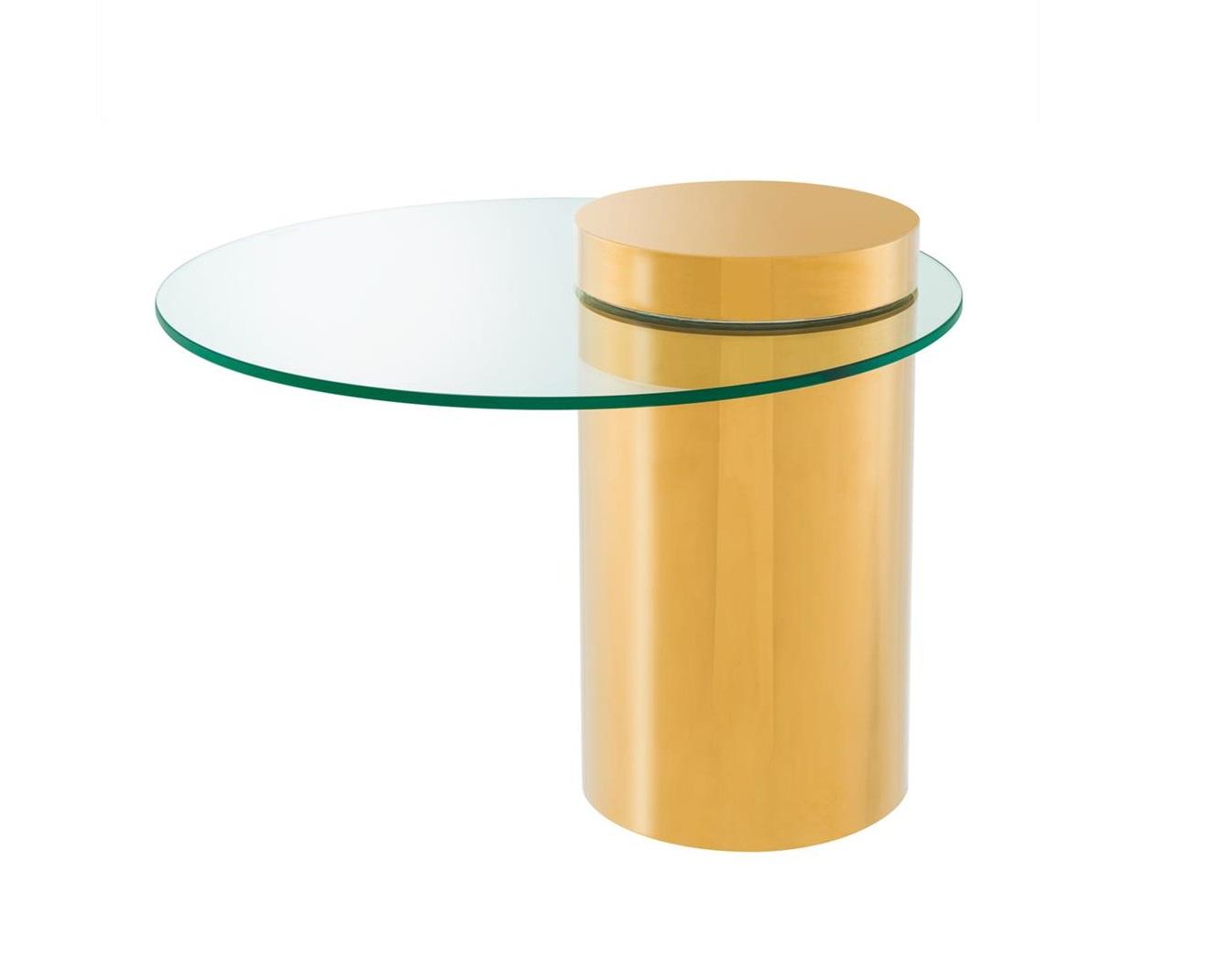 СтолПриставные столики<br>Столик Side Table Equilibre на основании из металла золотого цвета. Столешница выполнена из плотного прозрачного стекла.<br><br>Material: Стекло<br>Height см: 51<br>Diameter см: 65