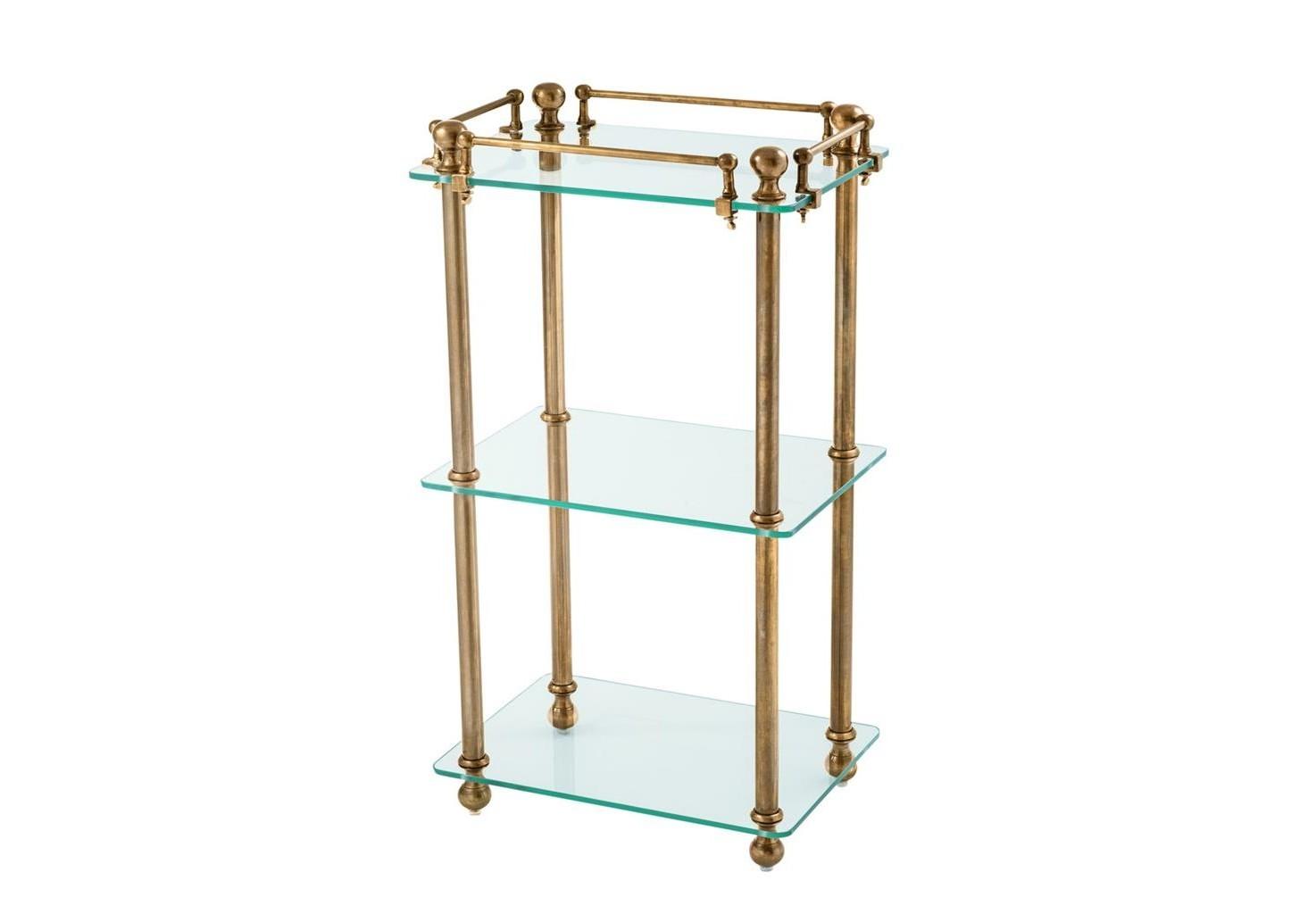 СтолПриставные столики<br>Столик Bathroom Rack Devon выполнен из металла цвета состаренная латунь. Полки из плотного прозрачного стекла.<br><br>Material: Стекло<br>Width см: 43<br>Depth см: 32<br>Height см: 82