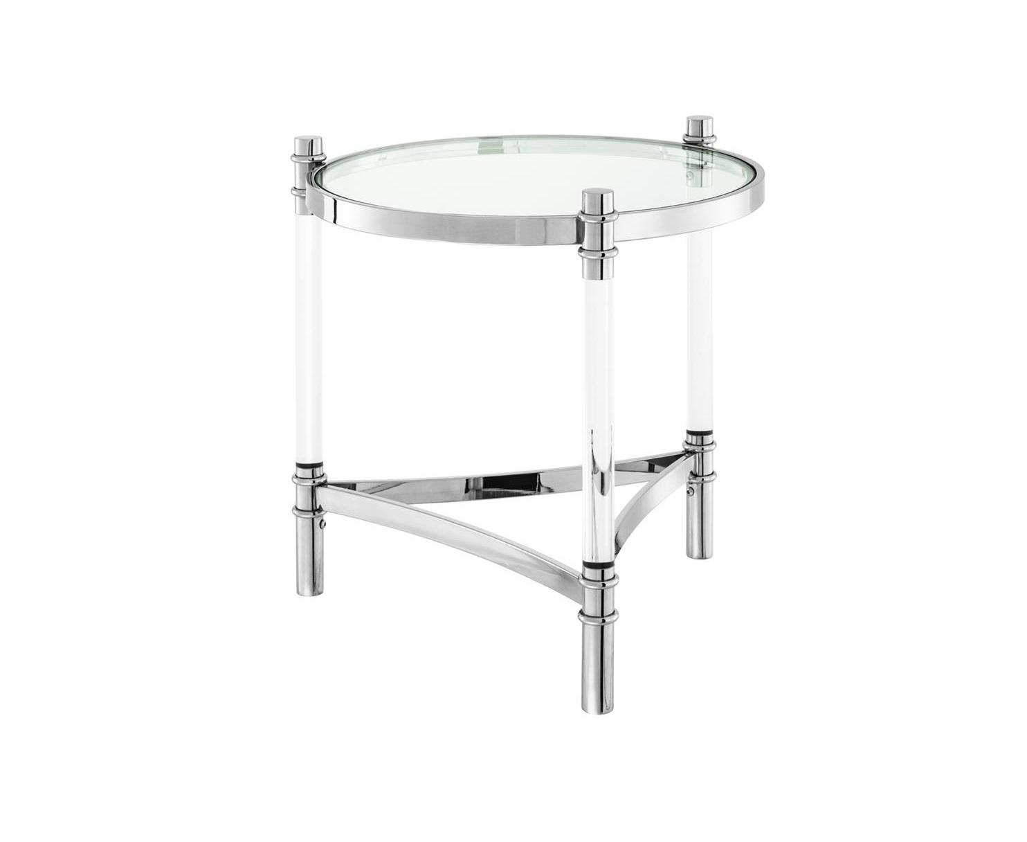 СтолКофейные столики<br>Столик Side Table Trento выполнен из полированной нержавеющей стали. Столешница из прозрачного стекла.<br><br>Material: Стекло<br>Height см: 55<br>Diameter см: 50