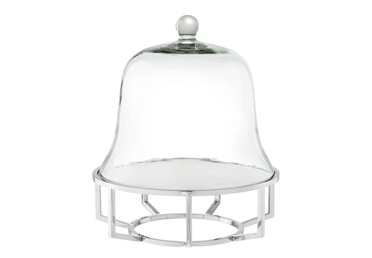 ПосудаПодставки и доски<br>Блюдо для выпечки Cake Stand Branners со стеклянной крышкой. Основа из никелированного металла с подносом из белого мрамора.<br><br>Material: Стекло<br>Высота см: 42