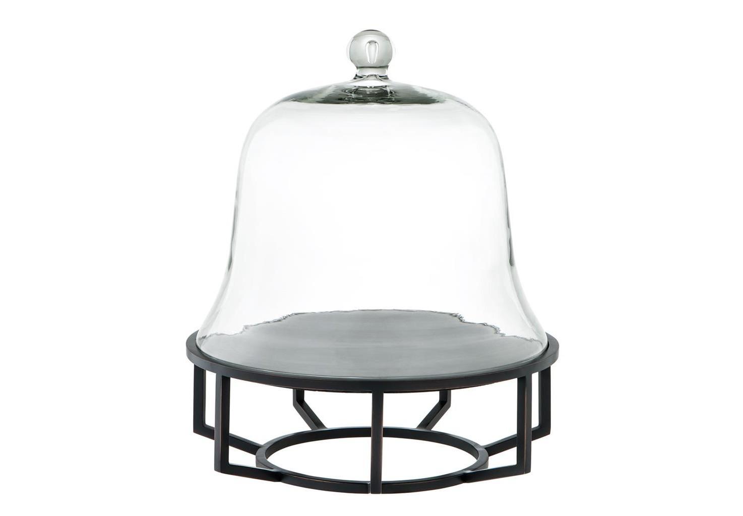 ПосудаПодставки и доски<br>Блюдо для выпечки Cake Stand Branners со стеклянной крышкой. Основа из металла черно-бронзового цвета с подносом из черного гранита.<br><br>Material: Стекло<br>Height см: 42<br>Diameter см: 35