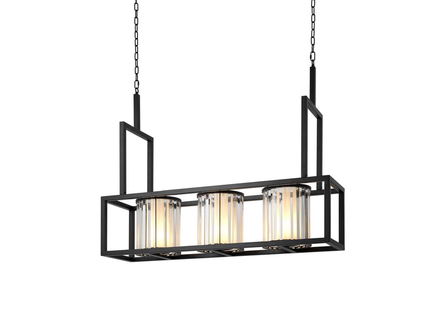 Подвесной светильникПодвесные светильники<br>Подвесной светильник Chandelier Carducci на металлической арматуре черного цвета. Плафоны из стекла песочного цвета в декоративном оформлении прозрачными пластинами. Высота светильника регулируется за счет звеньев цепи.&amp;lt;div&amp;gt;&amp;lt;br&amp;gt;&amp;lt;/div&amp;gt;&amp;lt;div&amp;gt;&amp;lt;div&amp;gt;Тип цоколя: E27&amp;lt;/div&amp;gt;&amp;lt;div&amp;gt;Мощность: 13W&amp;lt;/div&amp;gt;&amp;lt;div&amp;gt;Кол-во ламп: 3 (нет в комплекте)&amp;lt;/div&amp;gt;&amp;lt;/div&amp;gt;<br><br>Material: Металл<br>Width см: 120<br>Depth см: 32<br>Height см: 98