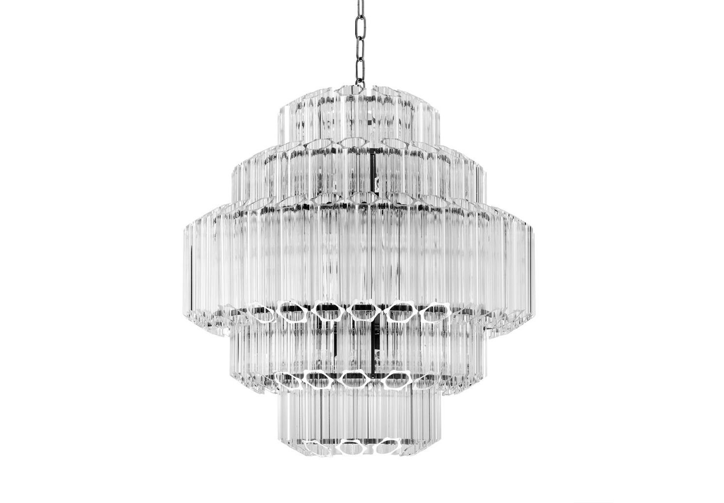 Подвесной светильникЛюстры подвесные<br>Подвесной светильник Chandelier Vittoria S на никелированной арматуре. Плафон выполнен из многоуровневых пластин из прозрачного стекла. Высота светильника регулируется за счет звеньев цепи. Лампочки из серии Bulb&amp;amp;nbsp;представлены на нашем сайте и приобретаются отдельно.&amp;lt;div&amp;gt;&amp;lt;br&amp;gt;&amp;lt;/div&amp;gt;&amp;lt;div&amp;gt;&amp;lt;div&amp;gt;Тип цоколя: E14&amp;lt;/div&amp;gt;&amp;lt;div&amp;gt;Мощность: 40W&amp;lt;/div&amp;gt;&amp;lt;div&amp;gt;Кол-во ламп: 9 &amp;amp;nbsp;(нет в комплекте)&amp;lt;/div&amp;gt;&amp;lt;/div&amp;gt;<br><br>Material: Стекло<br>Height см: 67<br>Diameter см: 66