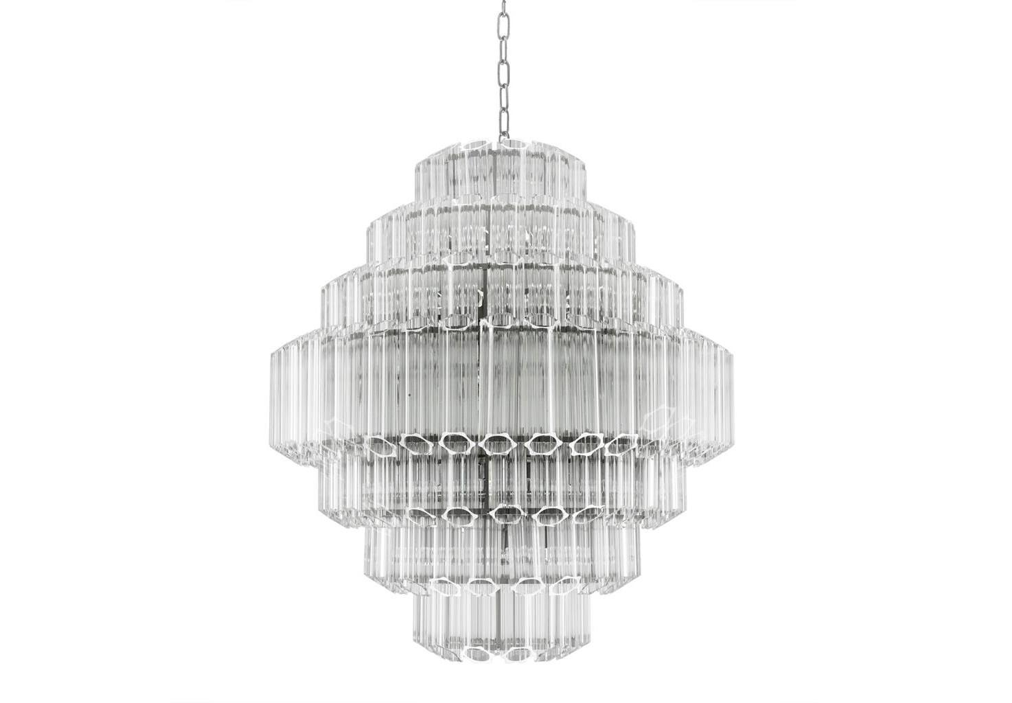 Подвесная люстра  Chandelier CarducciЛюстры подвесные<br>Подвесной светильник Chandelier Vittoria L на никелированной арматуре. Плафон выполнен из многоуровневых пластин из прозрачного стекла. Высота светильника регулируется за счет звеньев цепи. Лампочки из серии Bulb&amp;amp;nbsp;представлены на нашем сайте и приобретаются отдельно.&amp;lt;div&amp;gt;&amp;lt;br&amp;gt;&amp;lt;/div&amp;gt;&amp;lt;div&amp;gt;&amp;lt;div&amp;gt;Тип цоколя: E14&amp;lt;/div&amp;gt;&amp;lt;div&amp;gt;Мощность: 40W&amp;lt;/div&amp;gt;&amp;lt;div&amp;gt;Кол-во ламп: 18 (нет в комплекте)&amp;lt;/div&amp;gt;&amp;lt;/div&amp;gt;<br><br>Material: Стекло<br>Ширина см: 80.0<br>Высота см: 89.0<br>Глубина см: 80.0