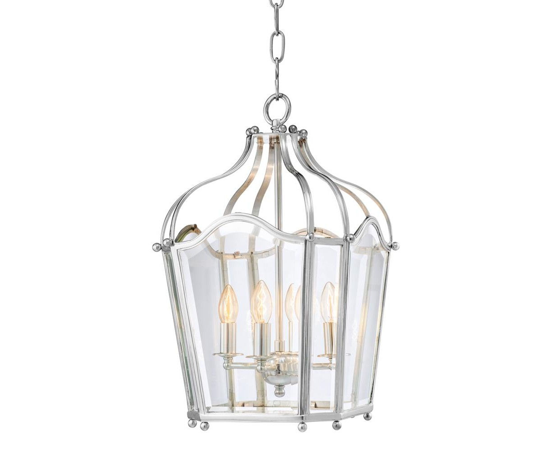 Подвесной светильникЛюстры подвесные<br>Подвесной светильник-латерна Lantern Elysee с оригинальным дизайном выполнен из никелированного металла. Створки плафона из прозрачного стекла. Высота светильника регулируется за счет звеньев цепи. Лампочки из серии Bulb&amp;amp;nbsp;представлены на нашем сайте и приобретаются отдельно.&amp;lt;div&amp;gt;&amp;lt;br&amp;gt;&amp;lt;/div&amp;gt;&amp;lt;div&amp;gt;&amp;lt;div&amp;gt;Тип цоколя: E14&amp;lt;/div&amp;gt;&amp;lt;div&amp;gt;Мощность: 40W&amp;lt;/div&amp;gt;&amp;lt;div&amp;gt;Кол-во ламп: 4 (нет в комплекте)&amp;lt;/div&amp;gt;&amp;lt;/div&amp;gt;<br><br>Material: Металл<br>Width см: 35<br>Depth см: 31,5<br>Height см: 58,5