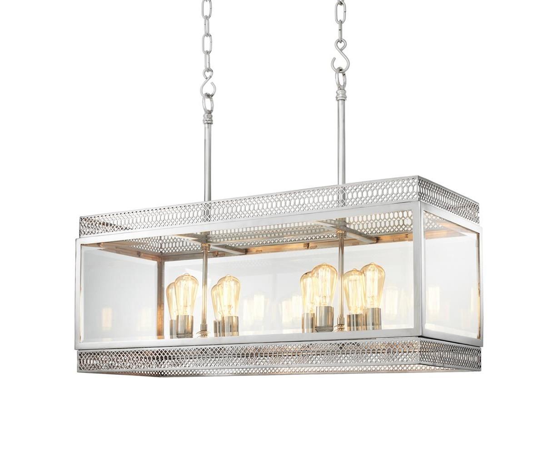 Подвесной светильникЛюстры подвесные<br>Подвесной светильник Chandelier Roma L с оригинальным дизайном выполнен из никелированного металла. Створки плафона из прозрачного стекла. Высота светильника регулируется за счет звеньев цепи. Лампочки из серии Bulb&amp;amp;nbsp;представлены на нашем сайте и приобретаются отдельно.&amp;lt;div&amp;gt;&amp;lt;br&amp;gt;&amp;lt;/div&amp;gt;&amp;lt;div&amp;gt;&amp;lt;div&amp;gt;Тип цоколя: E14&amp;lt;/div&amp;gt;&amp;lt;div&amp;gt;Мощность: 40W&amp;lt;/div&amp;gt;&amp;lt;div&amp;gt;Кол-во ламп: 8 (нет в комплекте)&amp;lt;/div&amp;gt;&amp;lt;/div&amp;gt;<br><br>Material: Металл<br>Ширина см: 100<br>Высота см: 84<br>Глубина см: 38