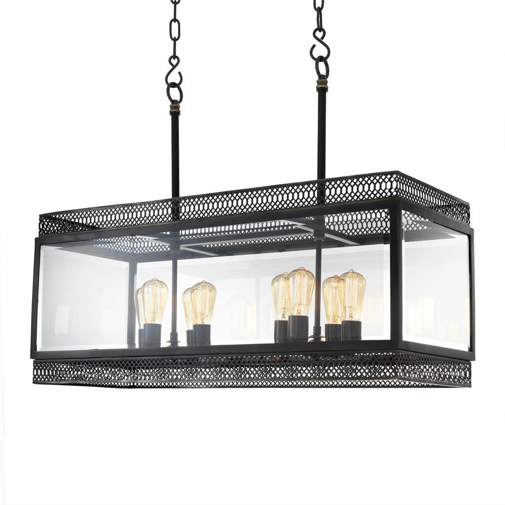 Подвесной светильник RomaЛюстры подвесные<br>Подвесной светильник Chandelier Roma L с оригинальным дизайном выполнен из металла цвета пушечная бронза. Створки плафона из прозрачного стекла. Высота светильника регулируется за счет звеньев цепи. Лампочки из серии Bulb&amp;amp;nbsp;представлены на нашем сайте и приобретаются отдельно.&amp;lt;div&amp;gt;&amp;lt;br&amp;gt;&amp;lt;/div&amp;gt;&amp;lt;div&amp;gt;&amp;lt;div&amp;gt;Тип цоколя: E27&amp;lt;/div&amp;gt;&amp;lt;div&amp;gt;Мощность: 40W&amp;lt;/div&amp;gt;&amp;lt;div&amp;gt;Кол-во ламп: 8 (нет в комплекте)&amp;lt;/div&amp;gt;&amp;lt;/div&amp;gt;<br><br>Material: Металл<br>Ширина см: 100.0<br>Высота см: 84.0<br>Глубина см: 38.0
