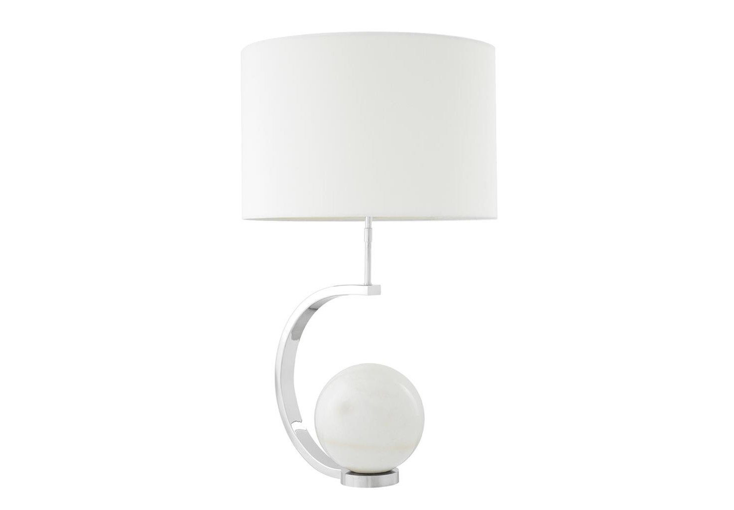 Настольная лампаДекоративные лампы<br>Настольная лампа Table Lamp Luigi с основанием из никелированного металла. Шар из белого мрамора на основании. Текстильный белый абажур скрывает лампу.&amp;lt;div&amp;gt;&amp;lt;br&amp;gt;&amp;lt;/div&amp;gt;&amp;lt;div&amp;gt;&amp;lt;div&amp;gt;Тип цоколя: E27&amp;lt;/div&amp;gt;&amp;lt;div&amp;gt;Мощность: 40W&amp;lt;/div&amp;gt;&amp;lt;div&amp;gt;Кол-во ламп: 1 (нет в комплекте)&amp;lt;/div&amp;gt;&amp;lt;/div&amp;gt;<br><br>Material: Металл<br>Ширина см: 35<br>Высота см: 80<br>Глубина см: 48