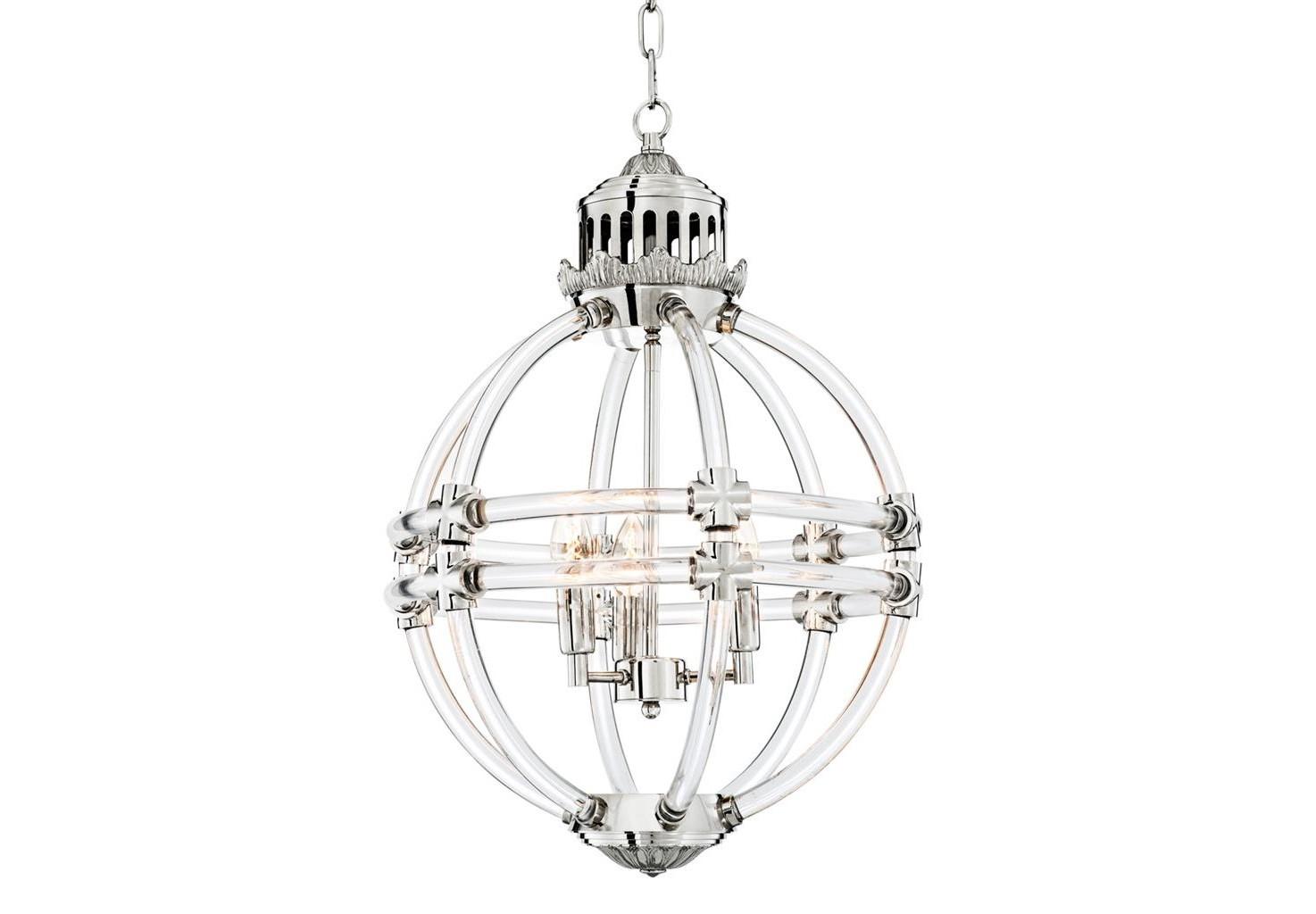 Подвесной светильникЛюстры подвесные<br>Подвесной светильник Chandelier Impero выполнен из металла цвета никель и прозрачного стекла. Оригинальный дизайн в виде сферы.  Высота светильника регулируется за счет звеньев цепи. Лампочки в комлект не входят.&amp;lt;div&amp;gt;&amp;lt;br&amp;gt;&amp;lt;/div&amp;gt;&amp;lt;div&amp;gt;&amp;lt;div&amp;gt;Тип цоколя: E14&amp;lt;/div&amp;gt;&amp;lt;div&amp;gt;Мощность: 40W&amp;lt;/div&amp;gt;&amp;lt;div&amp;gt;Кол-во ламп: 4 (нет в комплекте)&amp;lt;/div&amp;gt;&amp;lt;/div&amp;gt;<br><br>Material: Металл<br>Высота см: 64