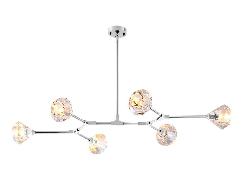 Подвесной светильникПодвесные светильники<br>Подвесной светильник Chandelier Salasco на никелированной арматуре. Плафоны с оригинальным дизайном из прозрачного стекла.&amp;amp;nbsp;&amp;lt;div&amp;gt;&amp;lt;br&amp;gt;&amp;lt;/div&amp;gt;&amp;lt;div&amp;gt;&amp;lt;div&amp;gt;Тип цоколя: E14&amp;lt;/div&amp;gt;&amp;lt;div&amp;gt;Мощность: 40W&amp;lt;/div&amp;gt;&amp;lt;div&amp;gt;Кол-во ламп: 6 (нет в комплекте)&amp;lt;/div&amp;gt;&amp;lt;/div&amp;gt;<br><br>Material: Металл<br>Ширина см: 133<br>Высота см: 14<br>Глубина см: 88