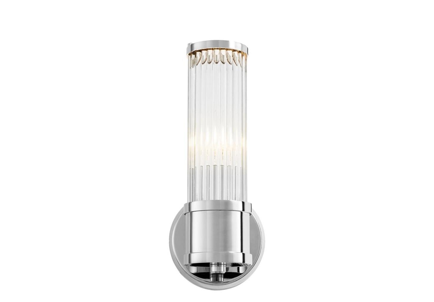 Настенный светильникБра<br>Настенный светильник Wall Lamp Claridges Single выполнен из никелированного металла. Плафон выполнен из фактурного прозрачного стекла.&amp;lt;div&amp;gt;&amp;lt;br&amp;gt;&amp;lt;/div&amp;gt;&amp;lt;div&amp;gt;&amp;lt;div&amp;gt;Тип цоколя: E14&amp;lt;/div&amp;gt;&amp;lt;div&amp;gt;Мощность: 40W&amp;lt;/div&amp;gt;&amp;lt;div&amp;gt;Кол-во ламп: 1 (нет в комплекте)&amp;lt;/div&amp;gt;&amp;lt;/div&amp;gt;<br><br>Material: Металл<br>Width см: 12<br>Depth см: 13<br>Height см: 29,5