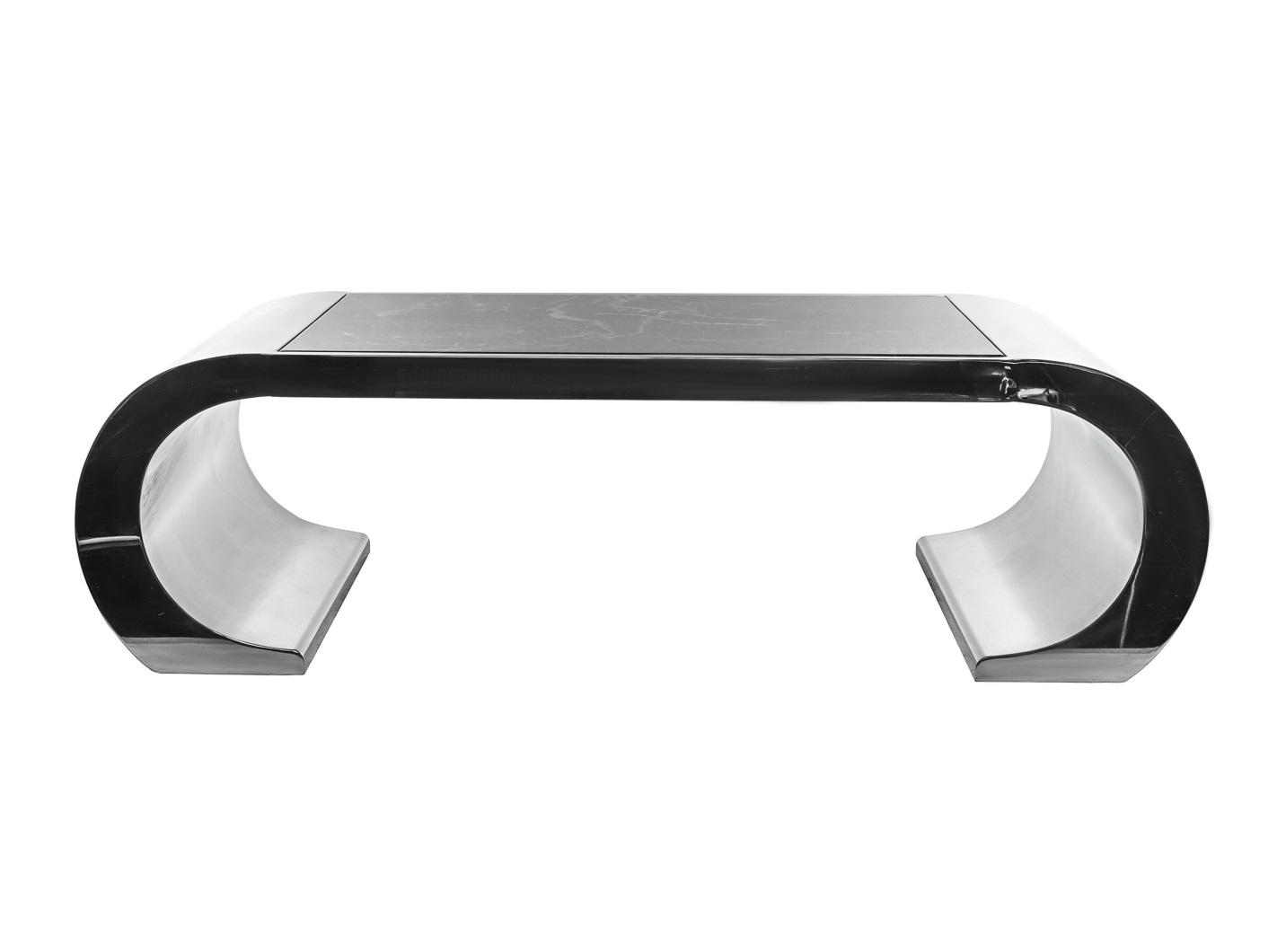 Журнальный столЖурнальные столики<br>Материал: стальное основание, столешница из искусственного мрамора темно-серого цвета с белыми прожилками<br><br>Material: Сталь<br>Width см: 130<br>Depth см: 60<br>Height см: 38