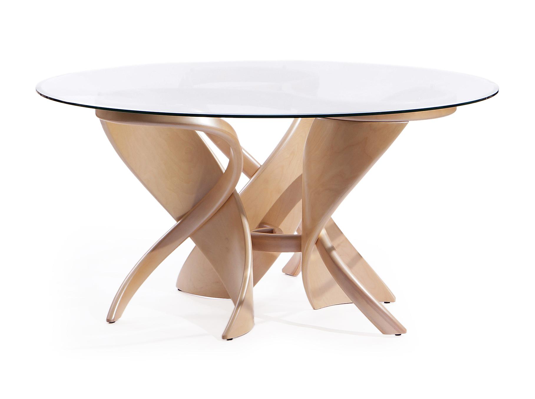 """Стол обеденный """"Virtuos-K""""Обеденные столы<br>Обеденный стол """"Virtuos-K"""" отличает от других круглая столешница из цельного листа стекла и оригинальная ножка-подставка, размещённая в центре стола. Цвет центральной опоры легко подобрать из множества образцов.<br>Небольшие размеры стола позволяют легко установить его в любой части помещения, а элегантная форма и актуальный дизайн станут украшением любого дома. Этот обеденный стол позволит создать настроение и непринужденную атмосферу.<br><br>Material: Стекло<br>Высота см: 76"""