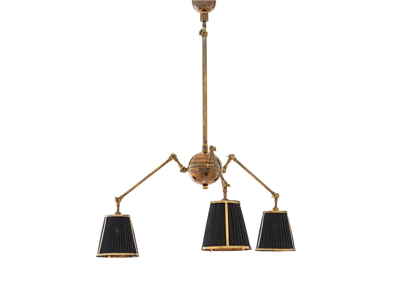 Подвесной светильникПодвесные светильники<br>Подвесной светильник Ceiling Lamp Constance с текстильными плиссированными абажурами черного цвета. Арматура из металла цвета античная латунь.&amp;lt;div&amp;gt;&amp;lt;br&amp;gt;&amp;lt;/div&amp;gt;&amp;lt;div&amp;gt;&amp;lt;div&amp;gt;Тип цоколя: E14&amp;lt;/div&amp;gt;&amp;lt;div&amp;gt;Мощность: 60W&amp;lt;/div&amp;gt;&amp;lt;div&amp;gt;Кол-во ламп: 3 (нет в комплекте)&amp;lt;/div&amp;gt;&amp;lt;/div&amp;gt;<br><br>Material: Металл<br>Высота см: 92