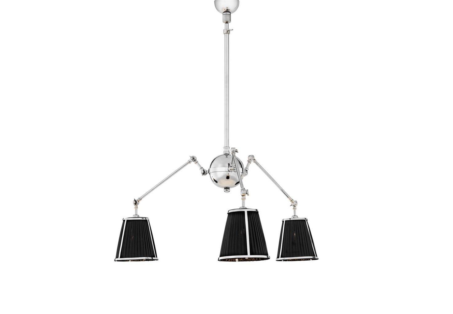 Подвесной светильникПодвесные светильники<br>Подвесной светильник Ceiling Lamp Constance с текстильными плиссированными абажурами черного цвета. Арматура из металла цвета никель.&amp;lt;div&amp;gt;&amp;lt;br&amp;gt;&amp;lt;/div&amp;gt;&amp;lt;div&amp;gt;&amp;lt;div&amp;gt;Тип цоколя: E14&amp;lt;/div&amp;gt;&amp;lt;div&amp;gt;Мощность: 40W&amp;lt;/div&amp;gt;&amp;lt;div&amp;gt;Кол-во ламп: 3 (нет в комплекте)&amp;lt;/div&amp;gt;&amp;lt;/div&amp;gt;<br><br>Material: Металл<br>Height см: 92<br>Diameter см: 90