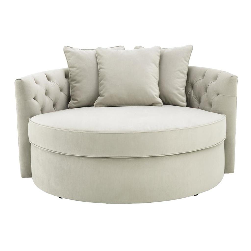 СофаДиванетки и софы<br>Диван Sofa Carlita закругленной формы. Обтянут тканью молочного цвета. Спинка выполнена в технике &amp;quot;Капитоне&amp;quot;. Состав: 100% полиэстер.<br><br>Material: Текстиль<br>Width см: 157<br>Depth см: 148<br>Height см: 90