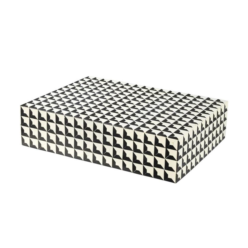 ШкатулкаШкатулки<br>Прямоугольная шкатулка Box Cabas L. Стильный аксессуар выполнен из смолы с черно-белым рисунком.<br><br>Material: Пластик<br>Ширина см: 40<br>Высота см: 10<br>Глубина см: 30