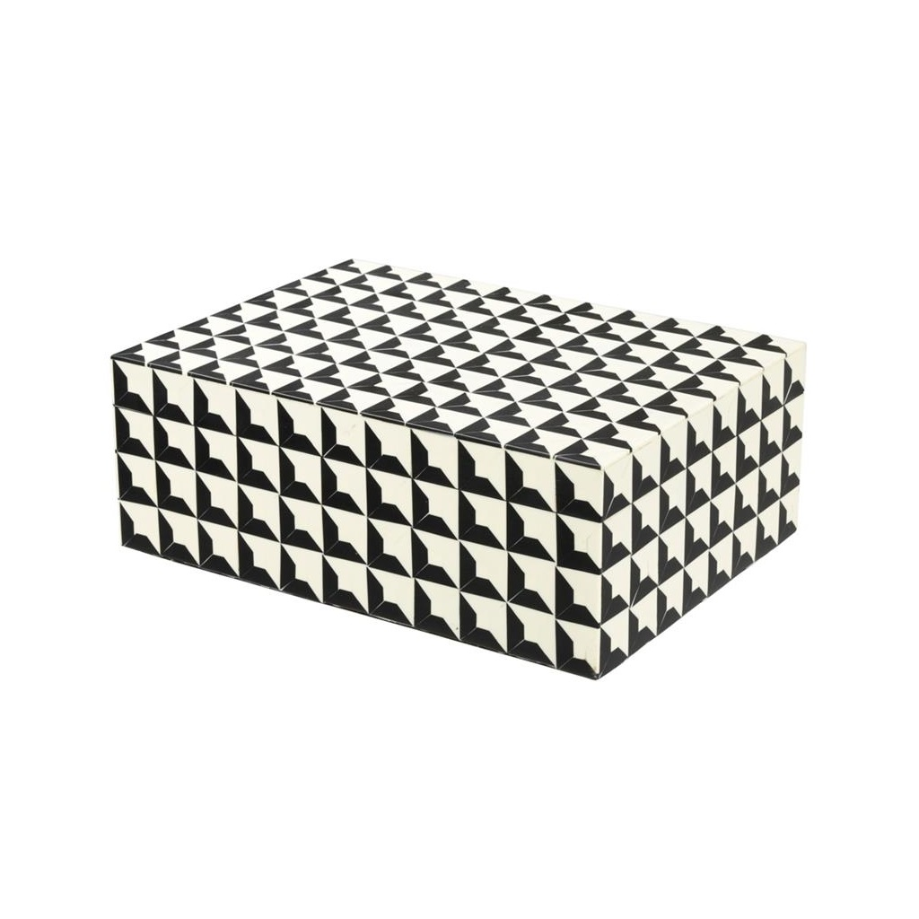 ШкатулкаШкатулки<br>Прямоугольная шкатулка Box Cabas S. Стильный аксессуар выполнен из смолы с черно-белым рисунком.<br><br>Material: Пластик<br>Width см: 28<br>Depth см: 21<br>Height см: 10