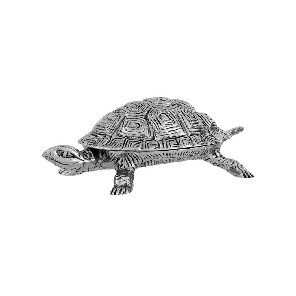 ШкатулкаШкатулки<br>Шкатулка Box Tortoise S с оригинальным дизайном в виде черепашки выполнена из никелированного металла.<br><br>Material: Металл<br>Ширина см: 19<br>Высота см: 6<br>Глубина см: 10
