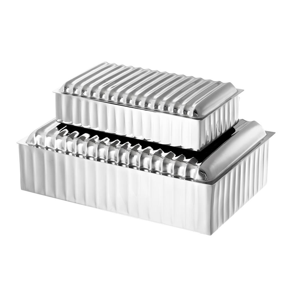 ШкатулкаШкатулки<br>Набор из 2-х шкатулок Box Cheyenne set of 2 из никелированного металла.&amp;amp;nbsp;&amp;lt;div&amp;gt;&amp;lt;br&amp;gt;&amp;lt;/div&amp;gt;&amp;lt;div&amp;gt;Размеры: 27 x 18,5 x H. 8,5 cm, 21 x 11,5 x H. 5,5 cm.&amp;lt;/div&amp;gt;<br><br>Material: Металл