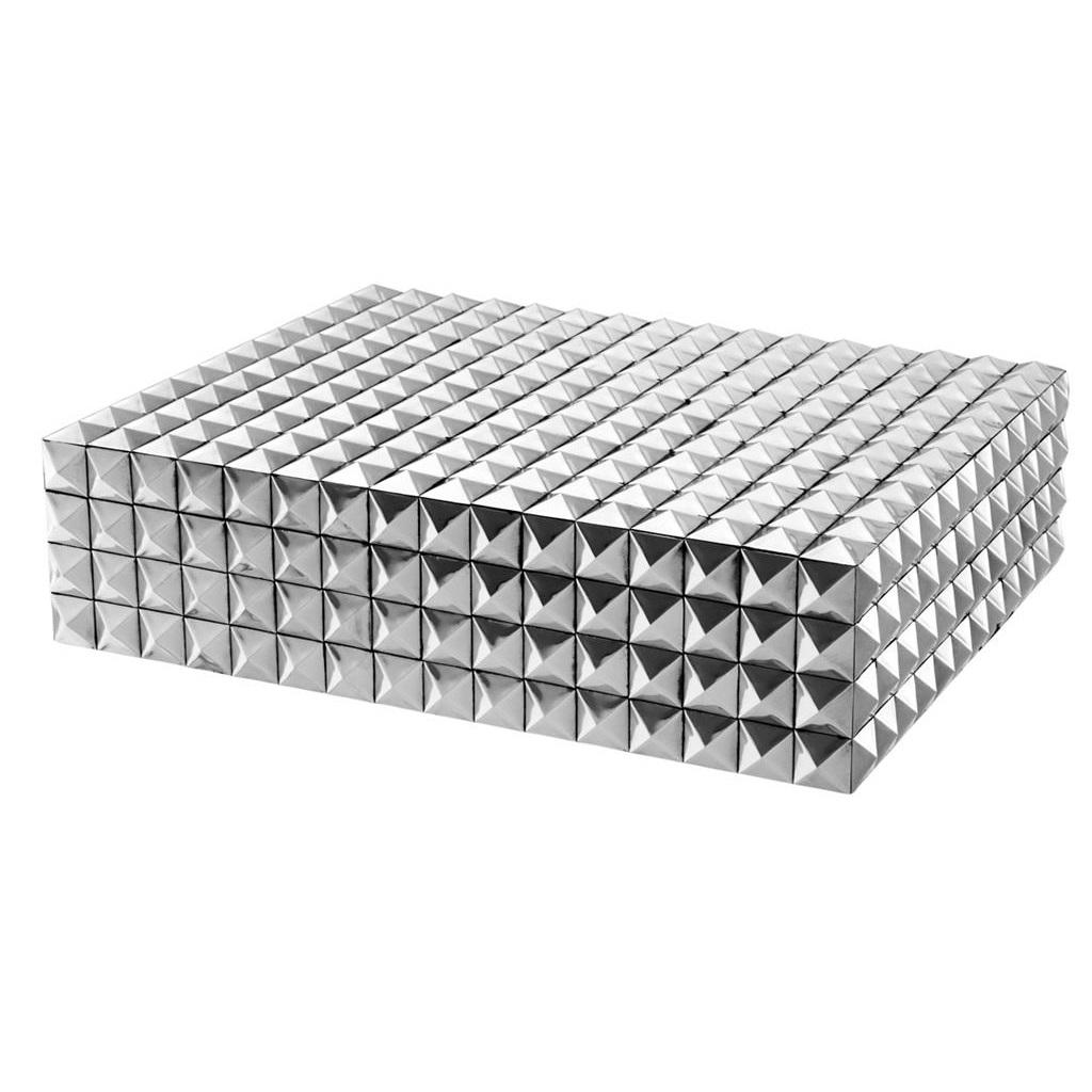 ШкатулкаШкатулки<br>Прямоугольная шкатулка Box Vivienne L. Стильный аксессуар выполнен из никелированного металла с фактурной поверхностью.<br><br>Material: Металл<br>Ширина см: 42<br>Высота см: 11<br>Глубина см: 32