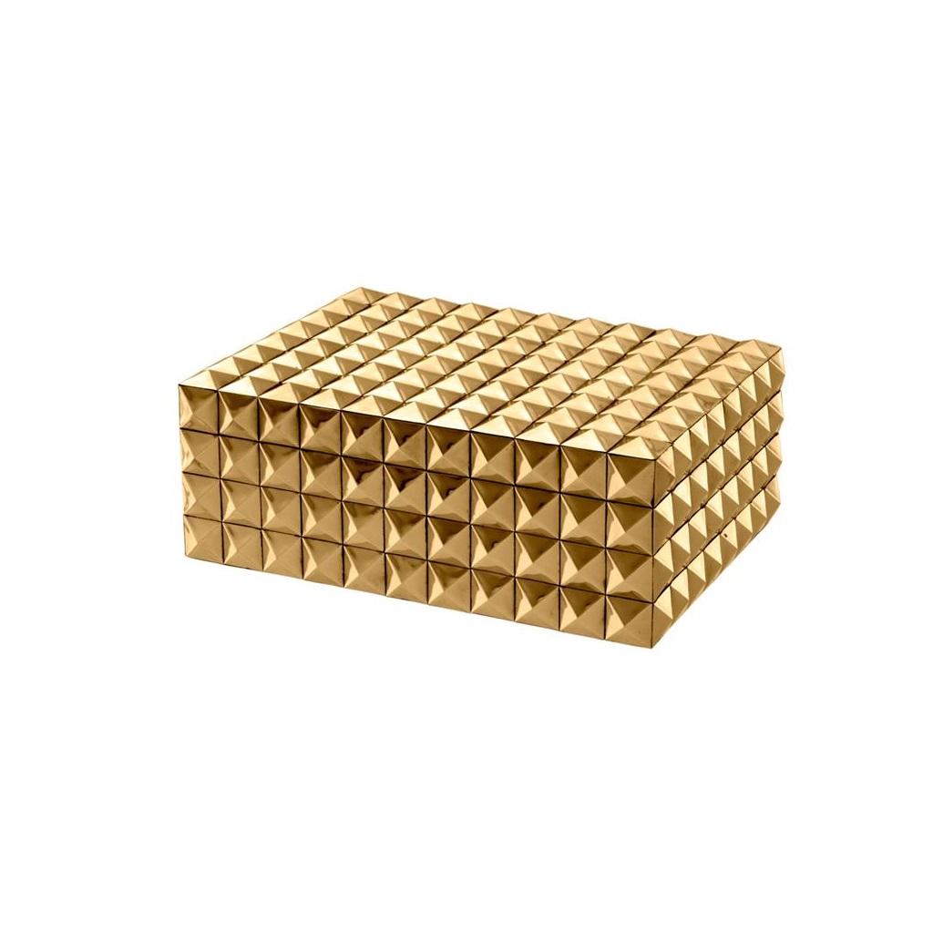 ШкатулкаШкатулки<br>Прямоугольная шкатулка Box Vivienne S. Стильный аксессуар выполнен из металла золотого цвета с фактурной поверхностью.<br><br>Material: Металл<br>Width см: 29,5<br>Depth см: 22<br>Height см: 11