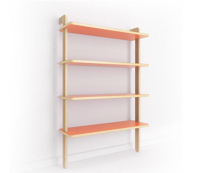 Стеллаж SorseleСтеллажи и этажерки<br>Эргономичный стеллаж Sorsele создает ощущение легкости, не загромождает пространство и может вписаться в самый разный интерьер. Окрас полок в морковный цвет, отделка опор шпоном дуба. Не требует сборки.<br><br>Material: Фанера<br>Width см: 80<br>Depth см: 40<br>Height см: 180