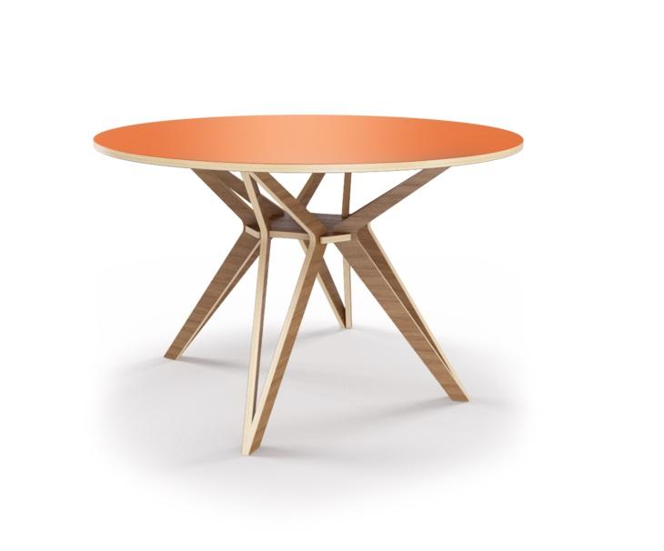 Стол HagforsОбеденные столы<br>Hagfors – это стол, необычный дизайн которого создаст изящный акцент в вашем интерьере. Окрас столешницы в морковный цвет, отделка подстолья шпоном ореха. Сборка не требуется. Возможен в диаметрах 60, 90, 100, 120 и 148см.<br><br>Material: Фанера<br>Высота см: 75.0