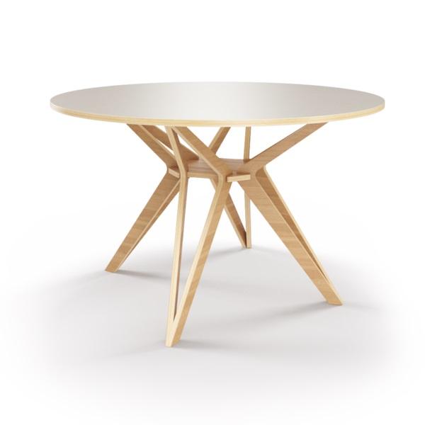 Стол HagforsОбеденные столы<br>Hagfors – это стол, необычный дизайн которого создаст изящный акцент в вашем интерьере. Окрас столешницы в молочный цвет, отделка подстолья шпоном дуба. Сборка не требуется. Возможен в диаметрах 60, 90, 100, 120 и 148см.<br><br>Material: Фанера<br>Height см: 75<br>Diameter см: 100