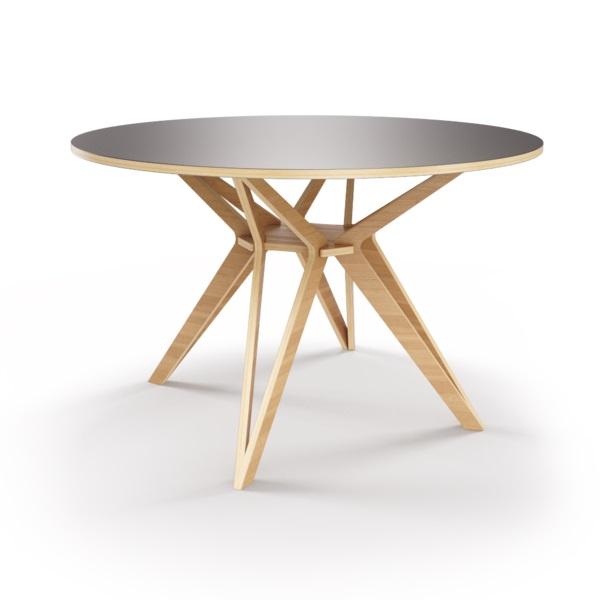 Стол HagforsОбеденные столы<br>Hagfors – это стол, необычный дизайн которого создаст изящный акцент в вашем интерьере. Окрас столешницы в графитовый цвет, отделка подстолья шпоном дуба. Сборка не требуется. Возможен в диаметрах 60, 90, 100, 120 и 148см.<br><br>Material: Фанера<br>Height см: 75<br>Diameter см: 100