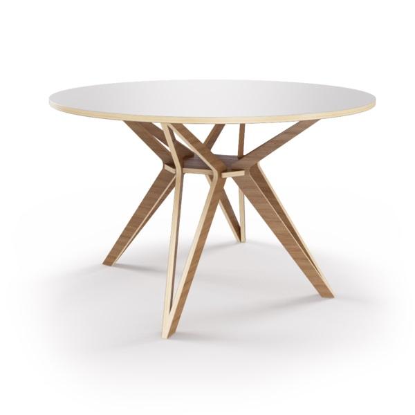 Стол HagforsОбеденные столы<br>Hagfors – это стол, необычный дизайн которого создаст изящный акцент в вашем интерьере. Окрас столешницы в молочный цвет, отделка подстолья шпоном ореха. Сборка не требуется. Возможен в диаметрах 60, 90, 100, 120 и 148см.<br><br>Material: Фанера<br>Height см: 75<br>Diameter см: 100