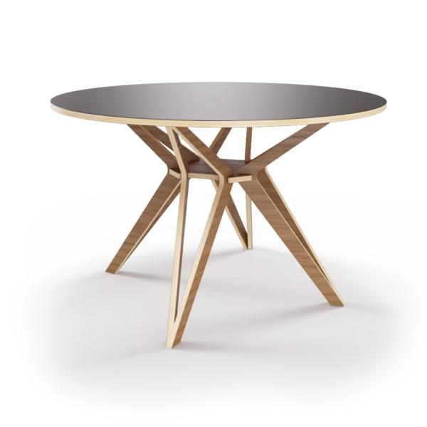Стол HagforsОбеденные столы<br>Hagfors – это стол, необычный дизайн которого создаст изящный акцент в вашем интерьере. Окрас столешницы в графитовый цвет, отделка подстолья шпоном ореха. Сборка не требуется. Возможен в диаметрах 60, 90, 100, 120 и 148см.<br><br>Material: Фанера<br>Height см: 75<br>Diameter см: 100